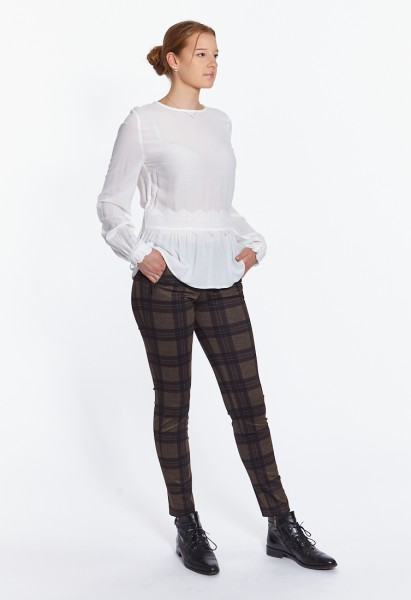 Cropped Jacky Zip slim fit pull-on trousers with check pattern
