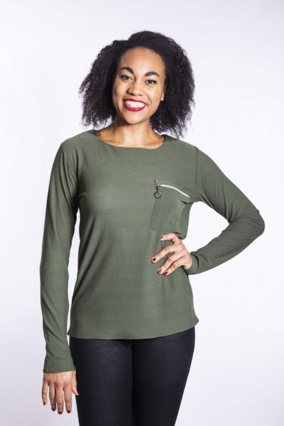 Eigenmarke I LOVE TALL Bluse mit Zipper in khaki mit extra langer Arm und Rücken