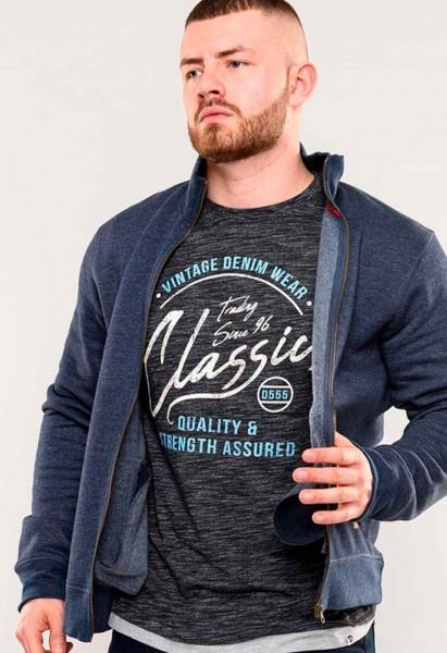 Sweatshirt jacket Lamson D555, denim blue marl