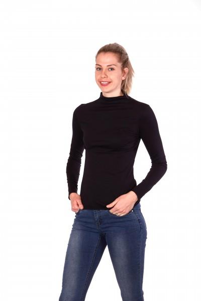Chemise à manches longues et col roulé en coton biologique