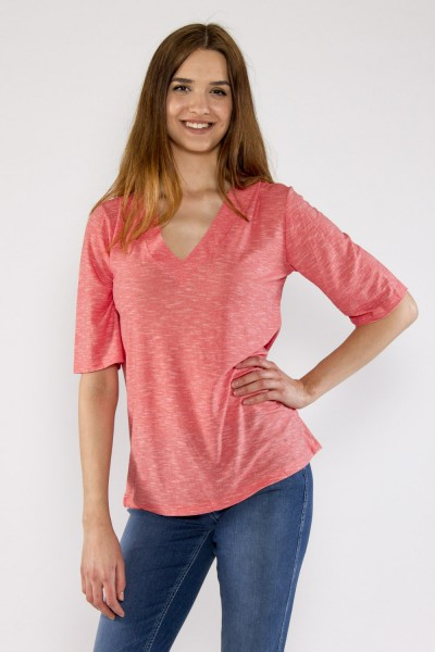 T-shirt with V-neck, coral