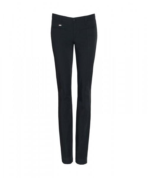 Paola slim dress pants with decorative seams, black