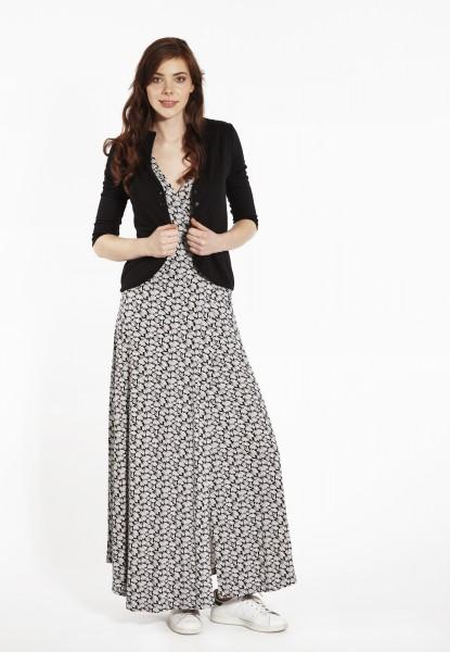 Maxi-Dress Sommerprint, schwarz/weiss