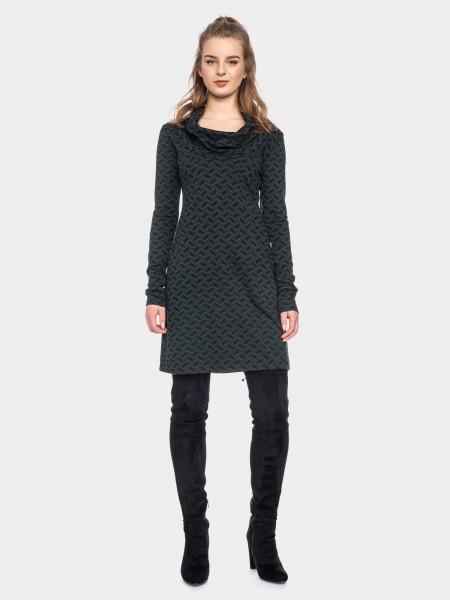 Urban jacquard dress organic cotton, black-green
