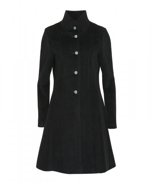 Wollmantel leicht ausgestellt mit Stehkragen, schwarz