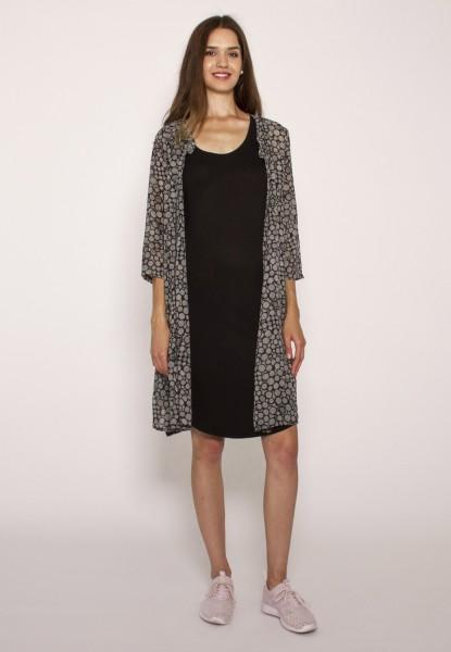 Chiffonkleid/Long-Bluse, schwarz-weiss gemustert