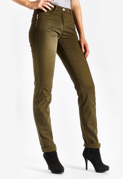 CS-Ronja Zip schmale Jeans mit Galonstreifen, olive