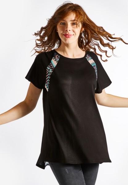 T-shirt top avec dos mousseline-plissé