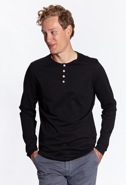 I LOVE TALL Langgrössen für Männer Langarm Shirt mit Knopfleiste schwarz vorne