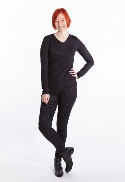 Langarm Shirt V-Ausschnitt, schwarz