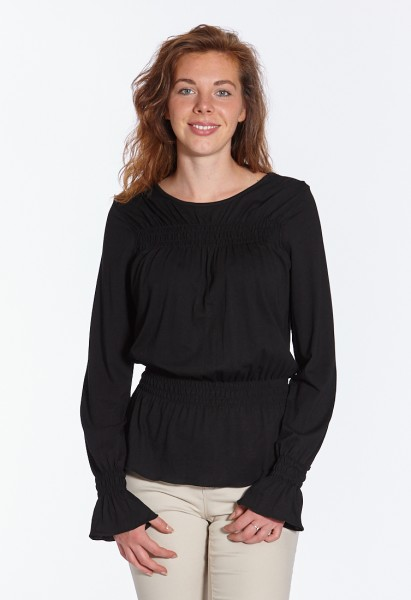 Smocked long sleeve shirt, black
