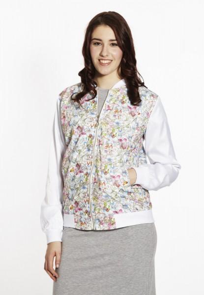 Bomber-blouson jacket, flower print