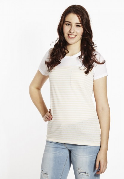 Shirt mit Leinen-Materialmix, gestreift