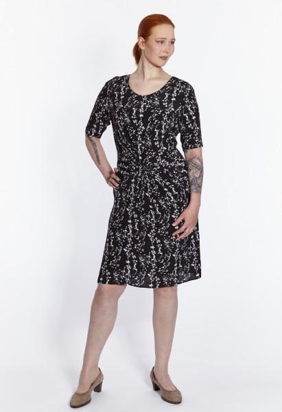Viskose Kleid bedruckt mit Knoten Detail, schwarz