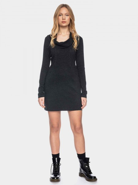 Long sleeve dress with waterfall collar organic cotton GOTS, anthracite