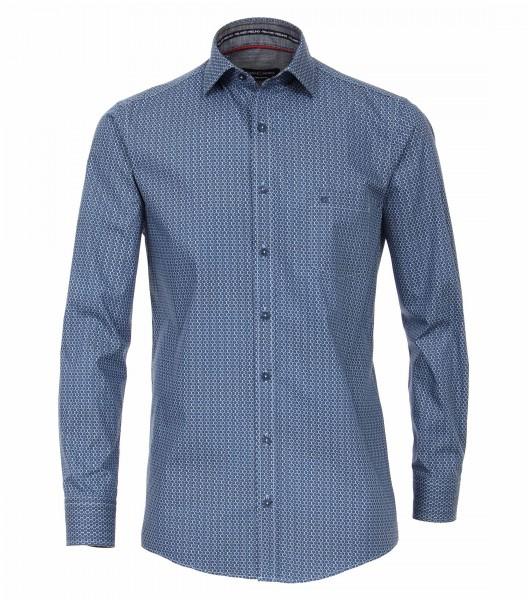 Hemd mit Kentkragen, blau gemustert