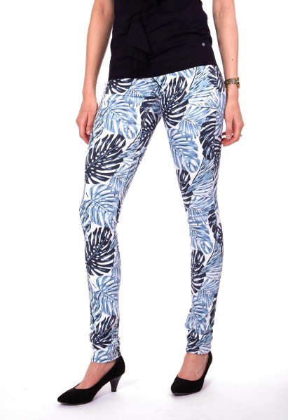 Wonderjeans skinny L38 inches, blanc bleu motif palmier