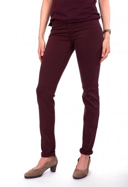 Jenny slim fit pants cotton satin L36 inch, bordeaux