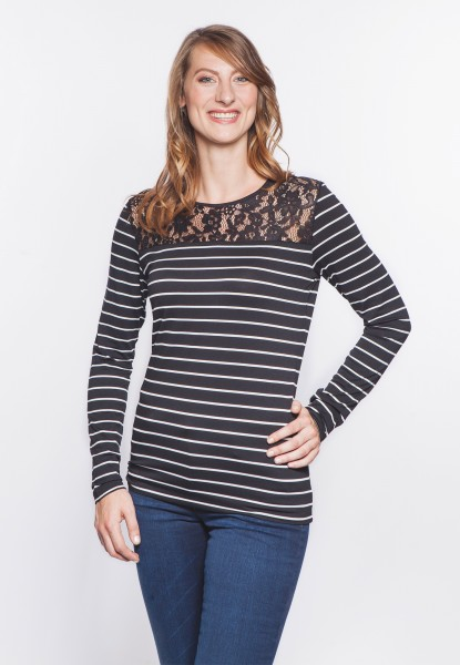 Langarm Shirt gestreift mit Spitze, schwarz-weiss