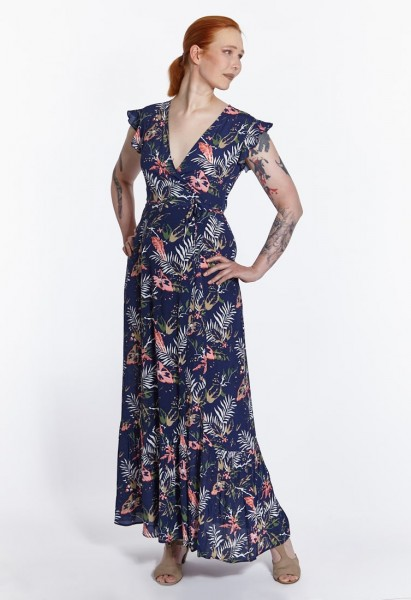 Robe longue en viscose enveloppée avec un imprimé floral, bleu marine