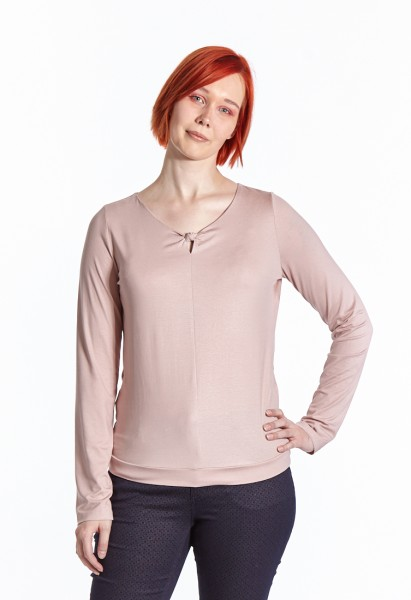 Langarm Shirt mit Ausschnittdetail, rosé