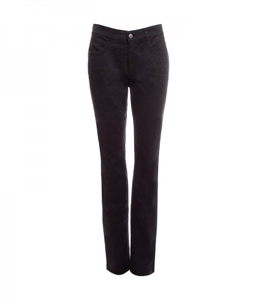 Esther 5-Pocket-Style Hose mit Jacquard Muster, schwarz