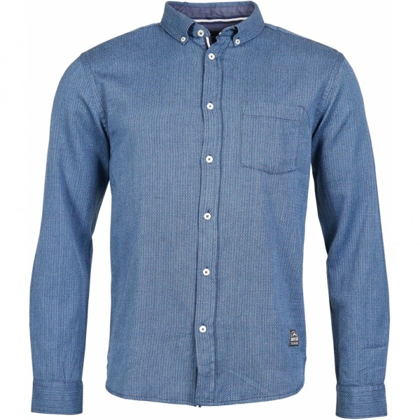 Long sleeve shirt with fine herringbone pattern