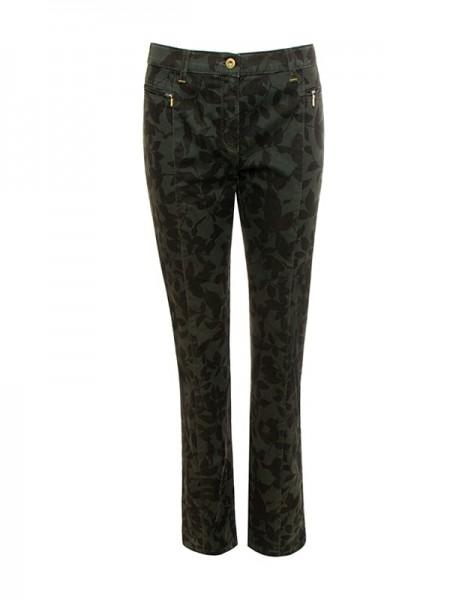 Sandy Slim Hose Blattdruck mit metallisch Glanz, grün und schwarz