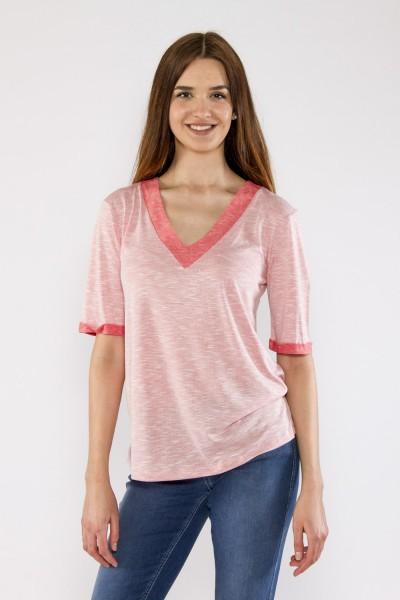 V-Shirt leicht Strick, weiss mit koralle