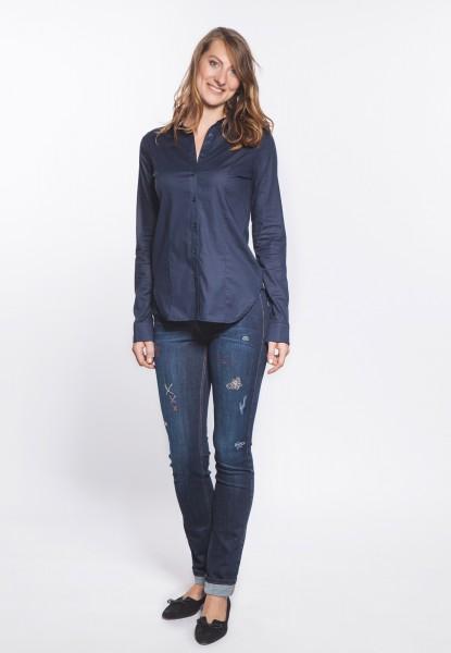 Gina Jeans straight cut, distressed mit Applikationen
