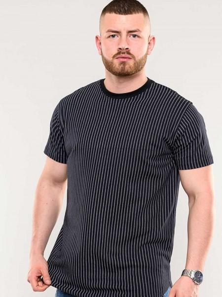 T-Shirt Stamford D555 schwarz Streifen und runder Saum