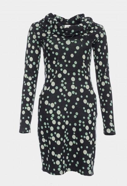 Robe à manches longues col cascade en coton biologique (GOTS), noir à pois verts