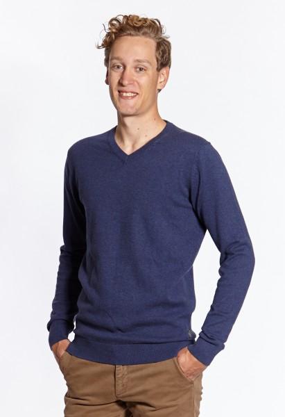 I LOVE TALL Langgrössen für Männer Feinstrickpullover blau vorne