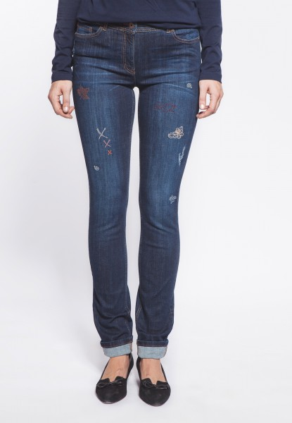 Gina Jeans straight cut, distressed mit Applikationen