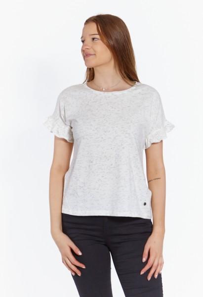 Oversized T-Shirt mit Rüschen, weiss méliert