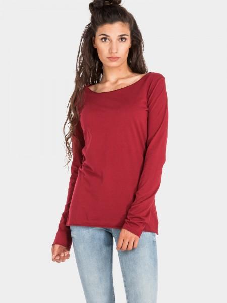 Coton organique chemise manches longues, bordeaux