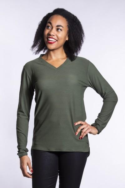 I LOVE TALL Blusentunika mit V-Ausschnitt in Trendfarbe Khaki, extra lange Ärmellänge und Rückenlänge