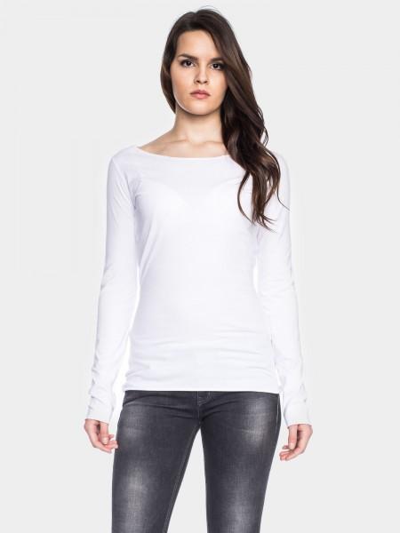 Coton organique chemise manches longues, blanche