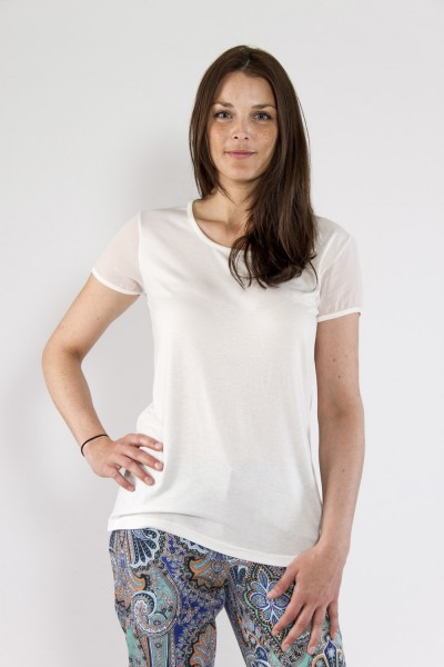 Shirt mit Chiffonarm, weiss