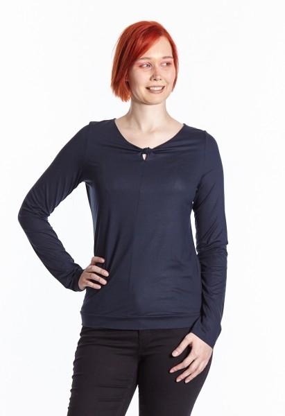 Chemise manches longues avec encolure détaillé, bleu foncé