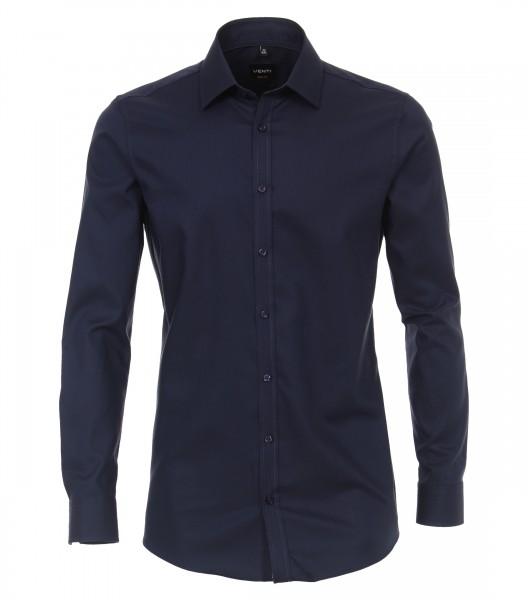 Chemise à manches longues Body Fit 72 cm de longueur de manche, bleu foncé