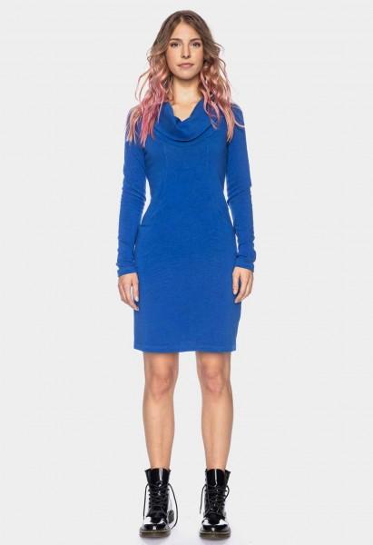 Langarmkleid mit Wasserfallkragen Organic Cotton GOTS, blau