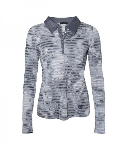 Poloshirt Langarm, gestreift grau