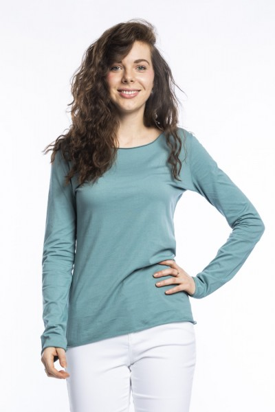Organic cotton long sleeve shirt Arista, arctic blue