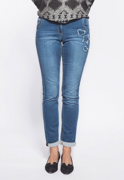 Pearl boyfriend jeans in jogg-denim with patches