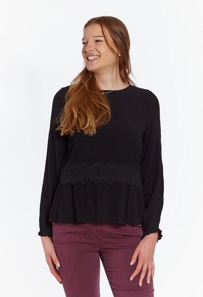 Tunic blouse with lace, black